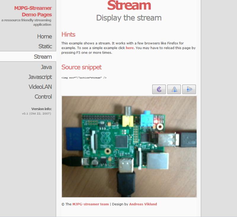 Raspberry PiとMJPG-streamerで動画配信